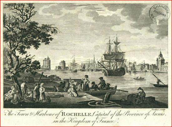 Le port de la Rochelle Gravure anglaise