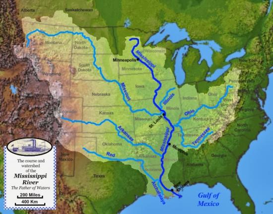 Mississippi watershed map