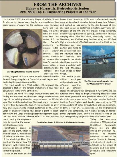 Sidney A Murray JR Hydroelectric station news letter 1
