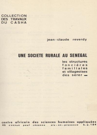 1963 societe rurale senegal reverdy jc 2 page garde