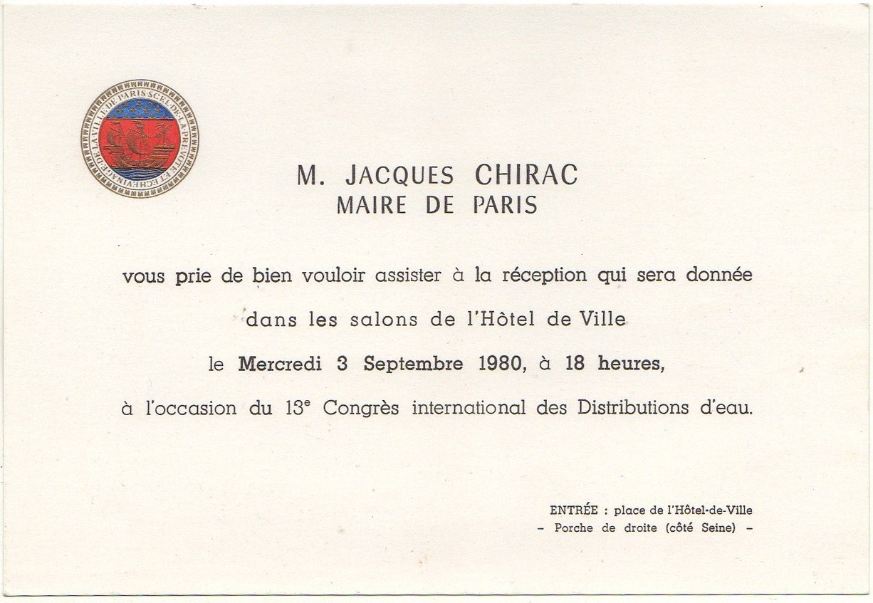 1980 invitation 3 sept chirac mairie paris