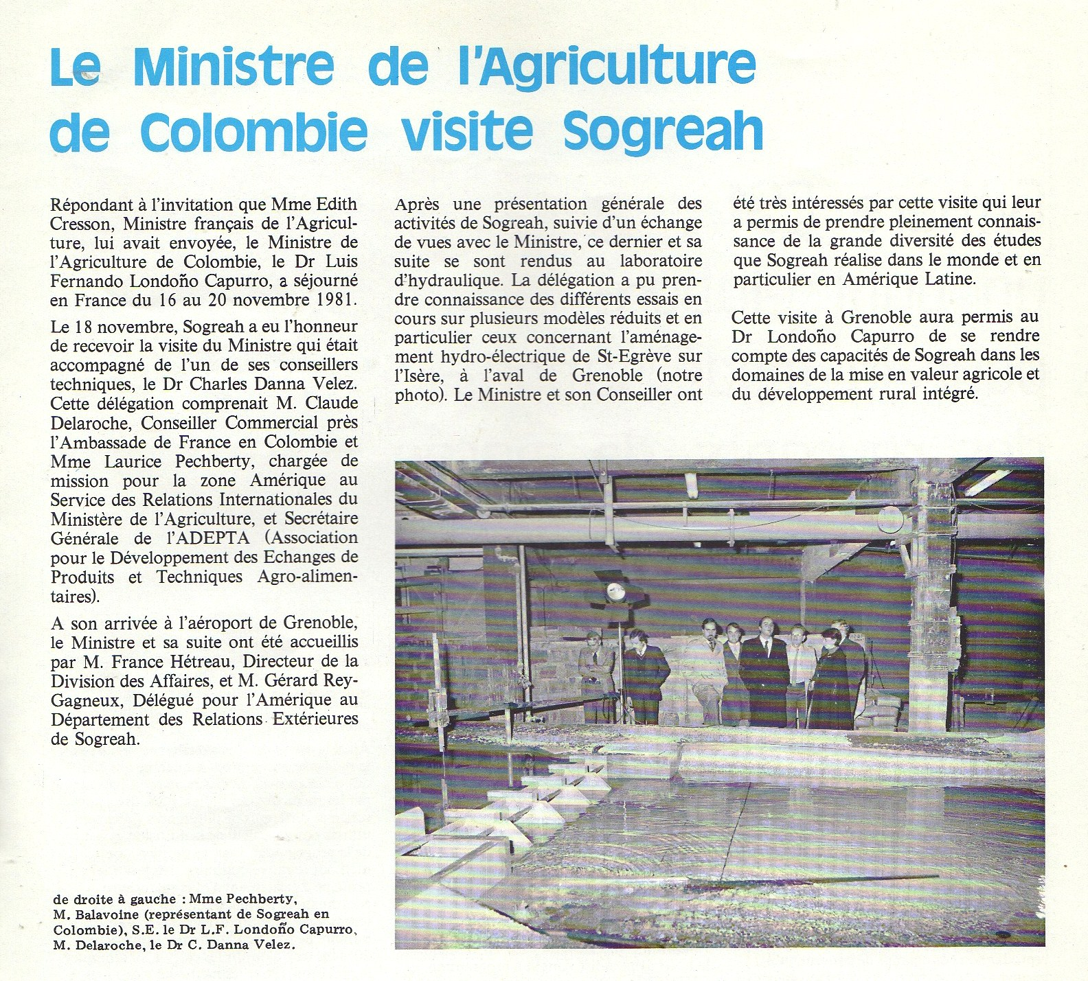 1981 visite ministre agri colombie
