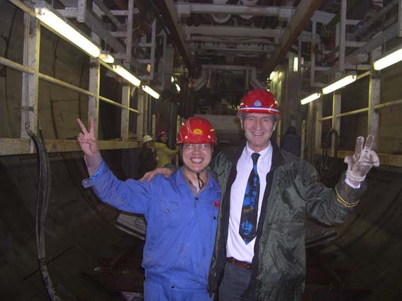 Alain dans le tunnelier sous le yangseqiang
