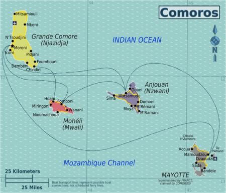 Anjouan moheli comore map