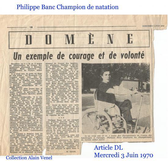 Banc philippe champion france natation juin 1970