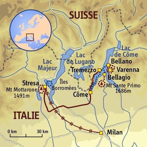 Carte lacs italie