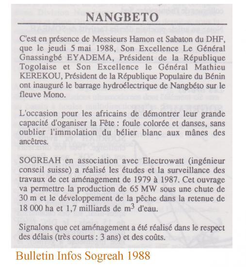 Inauguration nangbeto 5 mai 1988