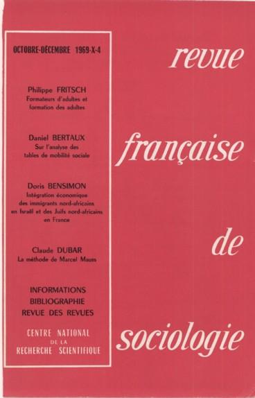 Revue francaise de sociologie 1969 10 4